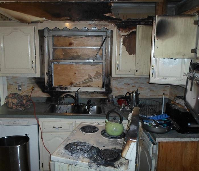 Fire Restoration of Customer's Kitchen  Before