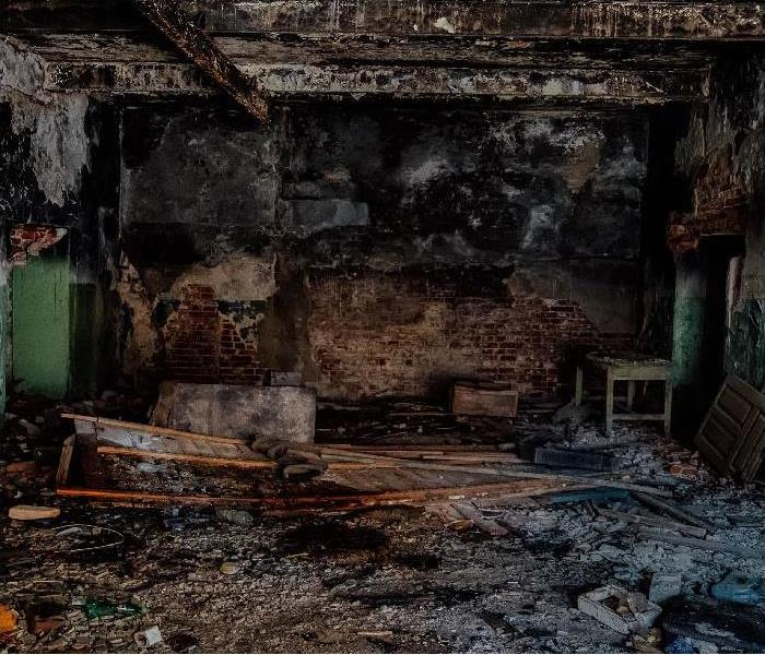 Burned interior after fire