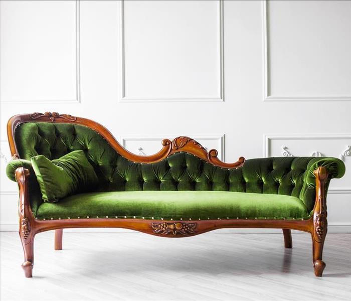 green antique couch